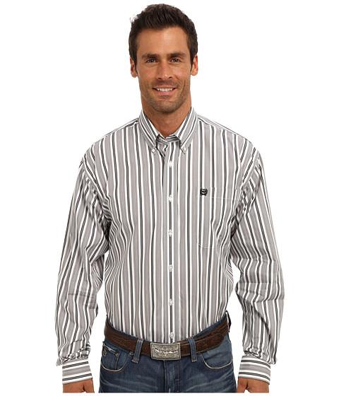 Cinch - L/S Plain Weave Stripe (White 1) Men