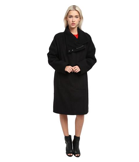 HELMUT LANG - High Collar Wool Coat (Black) Women's Coat