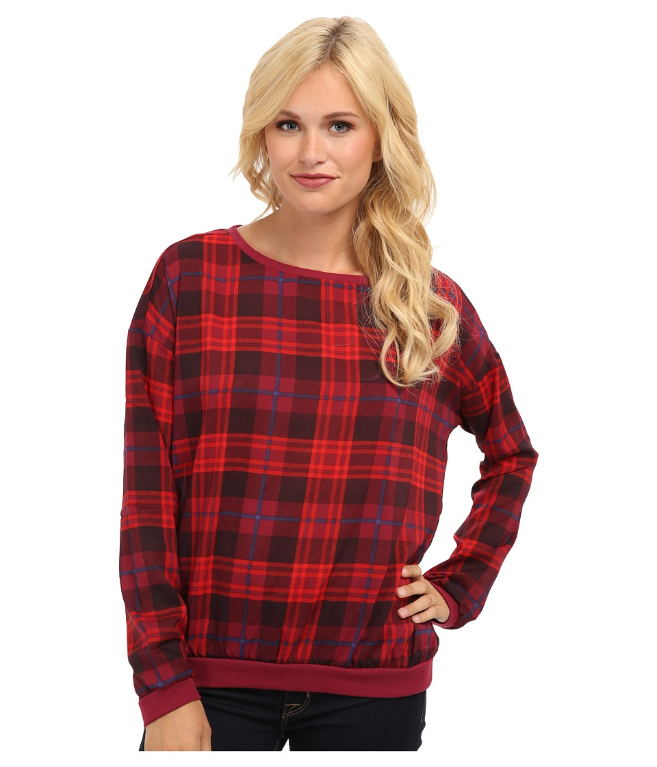 Brigitte Bailey - Desiree Plaid Sweater (Red Combo) Women's Sweater