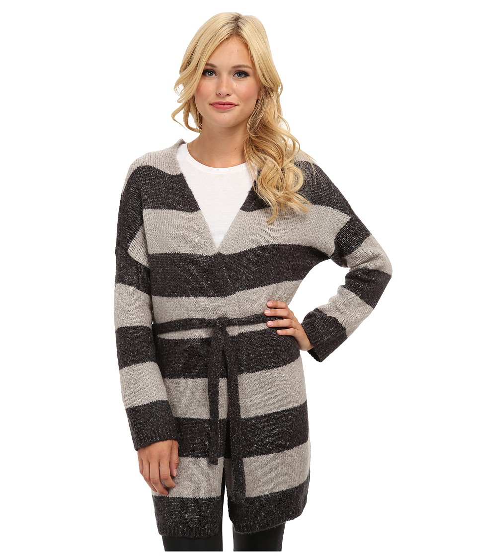 Brigitte Bailey - Emily Striped Tie Cardigan (Charcoal Combo) Women