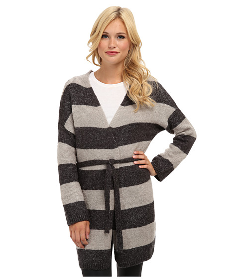 Brigitte Bailey - Emily Striped Tie Cardigan (Charcoal Combo) Women's Sweater
