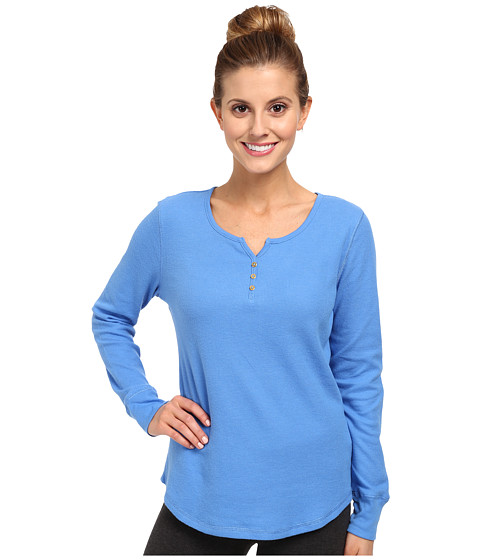 Jockey - Traditional Baby Waffle L/S Henley Top (Caspian Blue) Women's Pajama
