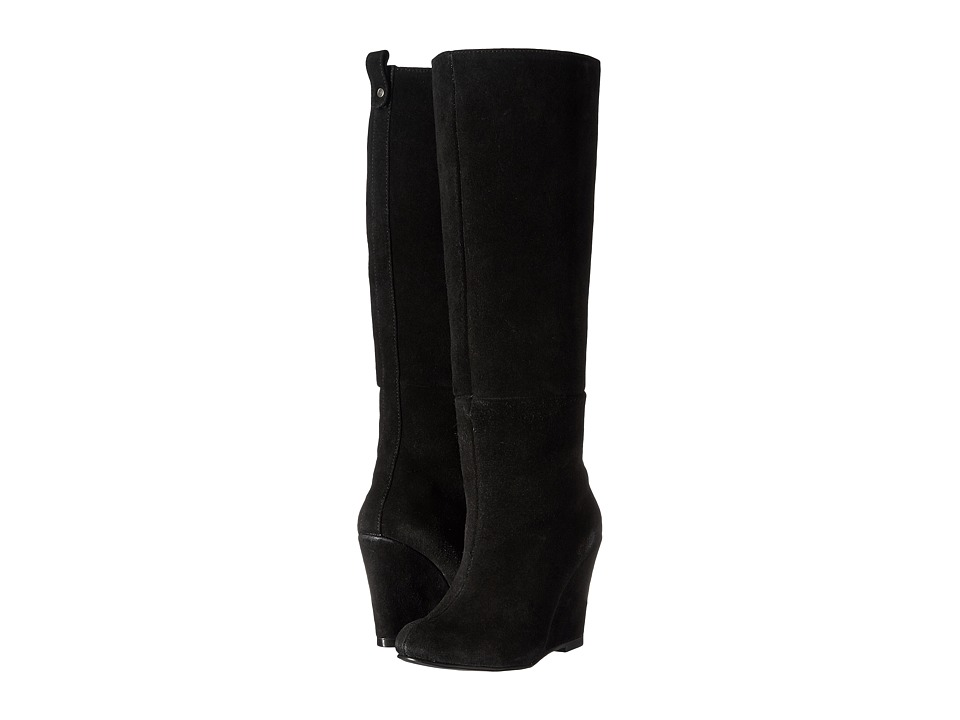Fitzwell - Wedgy Plain Wide Calf (Black Suede) Women's Pull-on Boots
