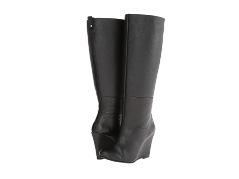 Fitzwell - Wedgy Plain Wide Calf (Black Leather) Women