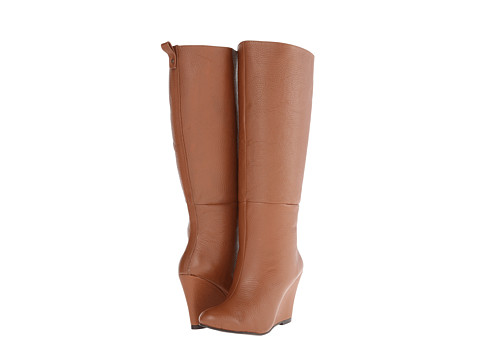 Fitzwell - Wedgy Plain Wide Calf (Cognac Leather) Women's Pull-on Boots