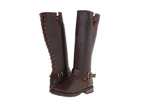 Fitzwell - Menier Buckle Wide Calf (Dark Brown Leather) Women's Zip Boots