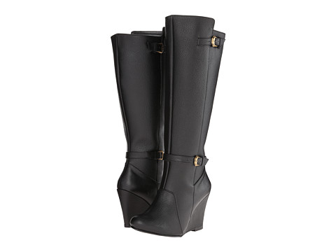 Fitzwell - Wedgy Dress Wide Calf (Black Leather) Women's Zip Boots