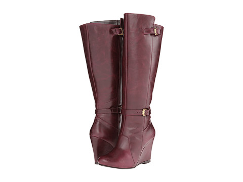 Fitzwell - Wedgy Dress Wide Calf (Burgundy Leather) Women's Zip Boots