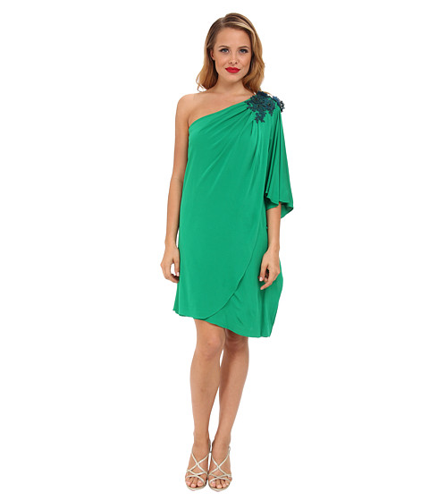 Badgley Mischka - Jersey One Shoulder (Emerald) Women's Dress
