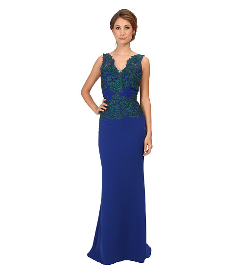 Badgley Mischka - Lace Back Crepe Gown (Blue) Women's Dress