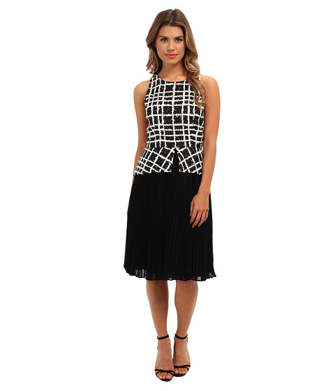 Badgley Mischka - Pleated Peplum Print Combo (Black Multi) Women's Dress