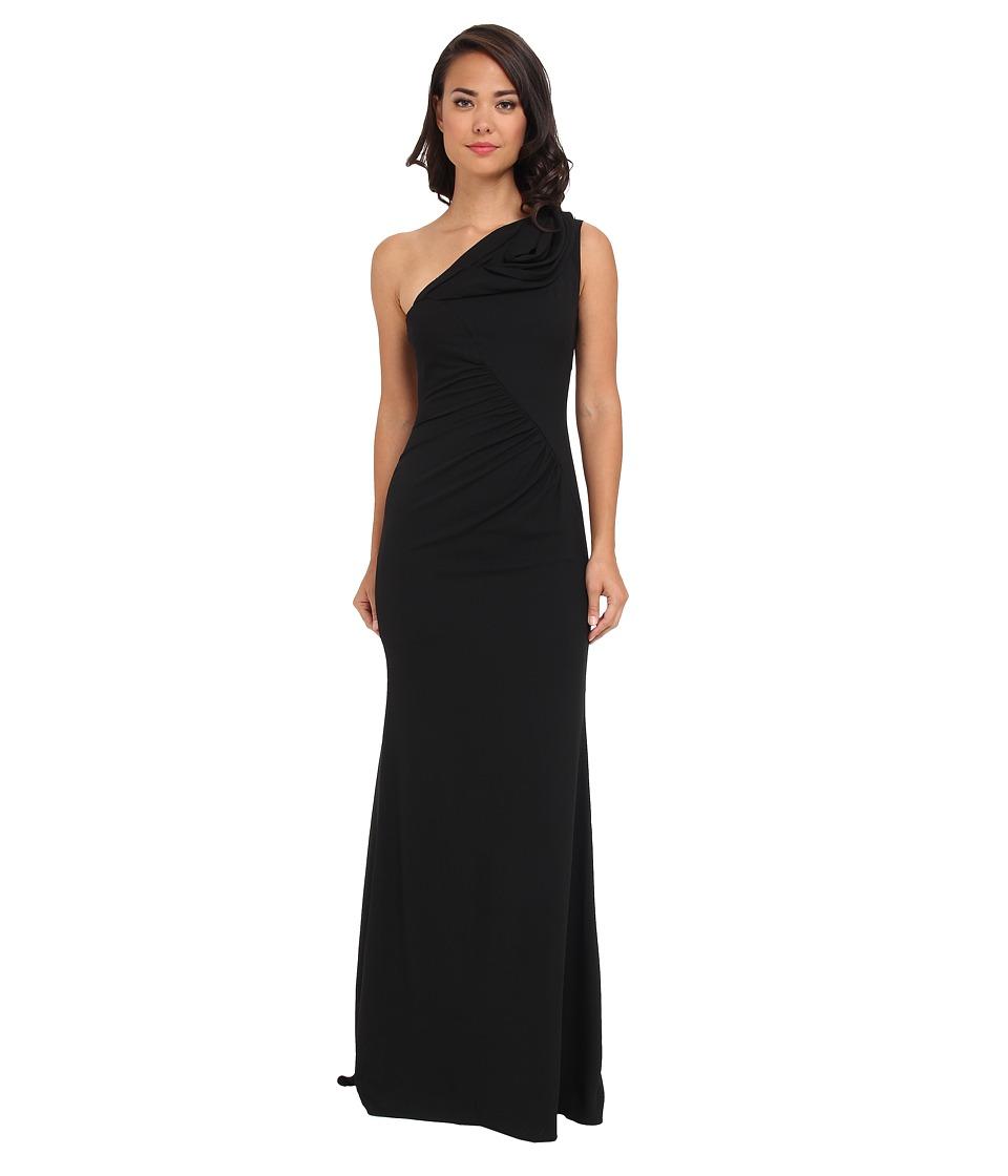 Badgley Mischka - One Shoulder Gown (Black) Women's Dress