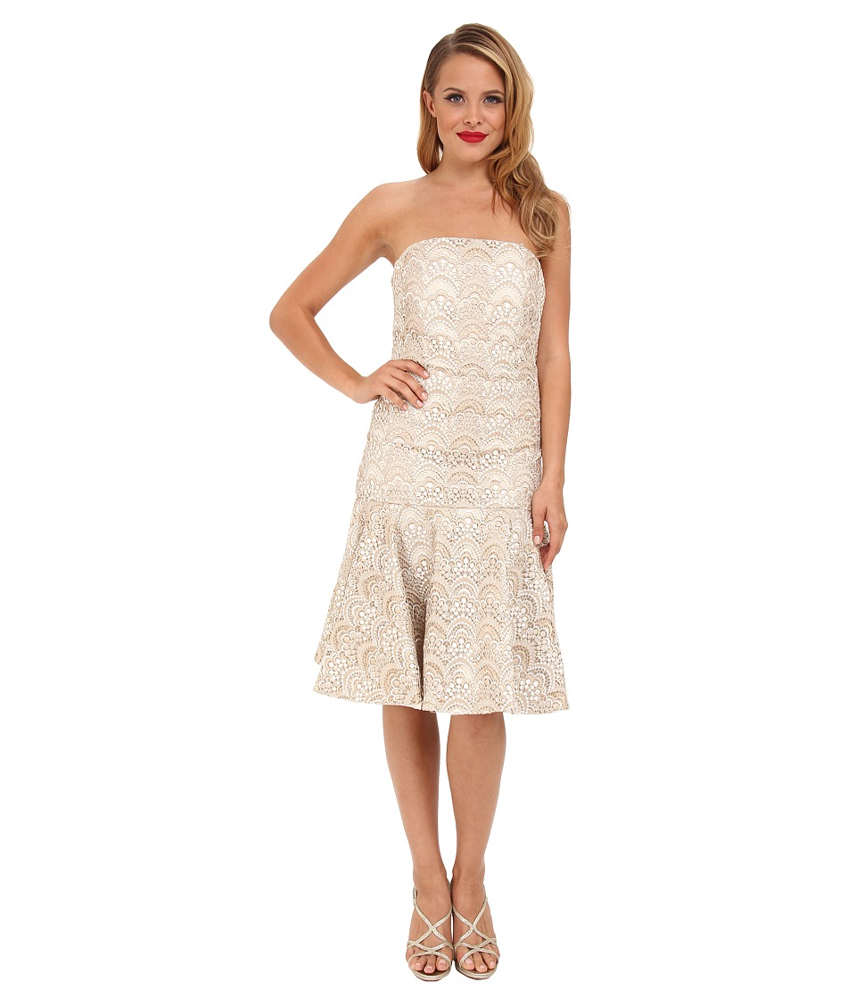 Badgley Mischka - Drop Waist Lace Cocktail (Ivory Gold) Women's Dress