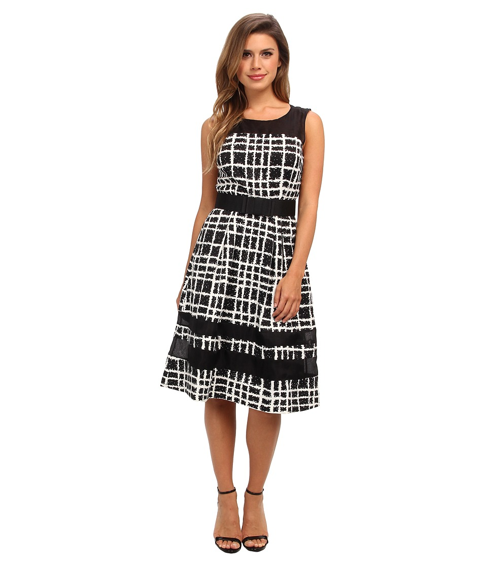 Badgley Mischka - Plaid Print Combo Cocktail (Black Multi) Women's Dress