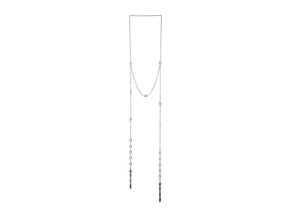 Stephen Webster - Le Dents De La Mer Shark Jaw Tassel Necklace (Black Rhodium & Green Jade) Necklace