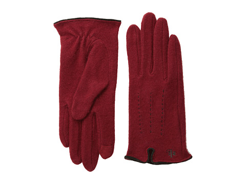 LAUREN by Ralph Lauren - Contrast Points Touch Glove (Merlot/Dark Brown) Dress Gloves
