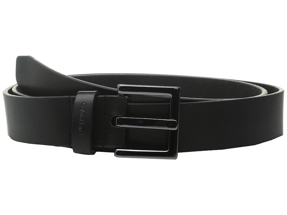 Calvin Klein - 1 3/8 Gunmetal Buckle CKJ Embossed Loop (Black) Women's Belts