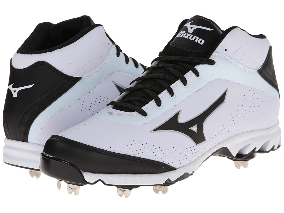 Mizuno - 9-Spike Vapor Elite 7 Mid (White/Black) Men's Cleated Shoes