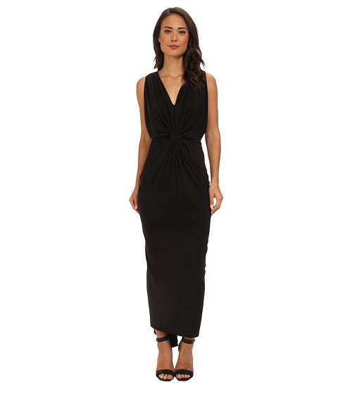 Tbags Los Angeles - Knot Front Maxi Dress (Black) Women