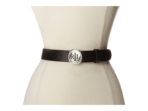 LAUREN by Ralph Lauren - 1 1/4 Leather Belt w/ Signature Logo Plaque (Black) Women