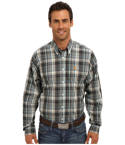 Cinch - L/S Plain Weave Plaid (Black 1) Men's Long Sleeve Button Up