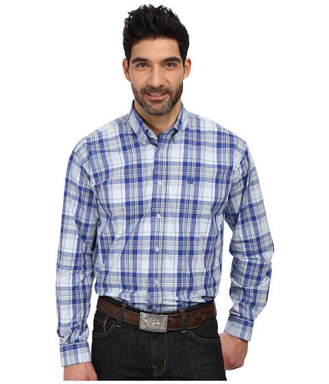 Cinch - L/S Plain Weave Plaid (Royal 2) Men's Long Sleeve Button Up