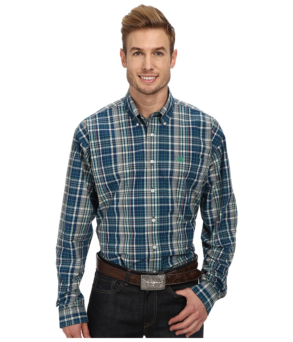 Cinch - L/S Plain Weave Plaid (Blue 6) Men's Long Sleeve Button Up