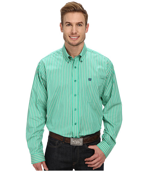 Cinch - L/S Plain Weave Stripe (Green) Men's Long Sleeve Button Up