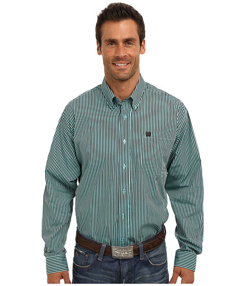 Cinch - L/S Plain Weave Stripe (Aqua) Men