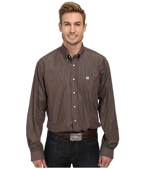Cinch - L/S Plain Weave Stripe (Brown 1) Men