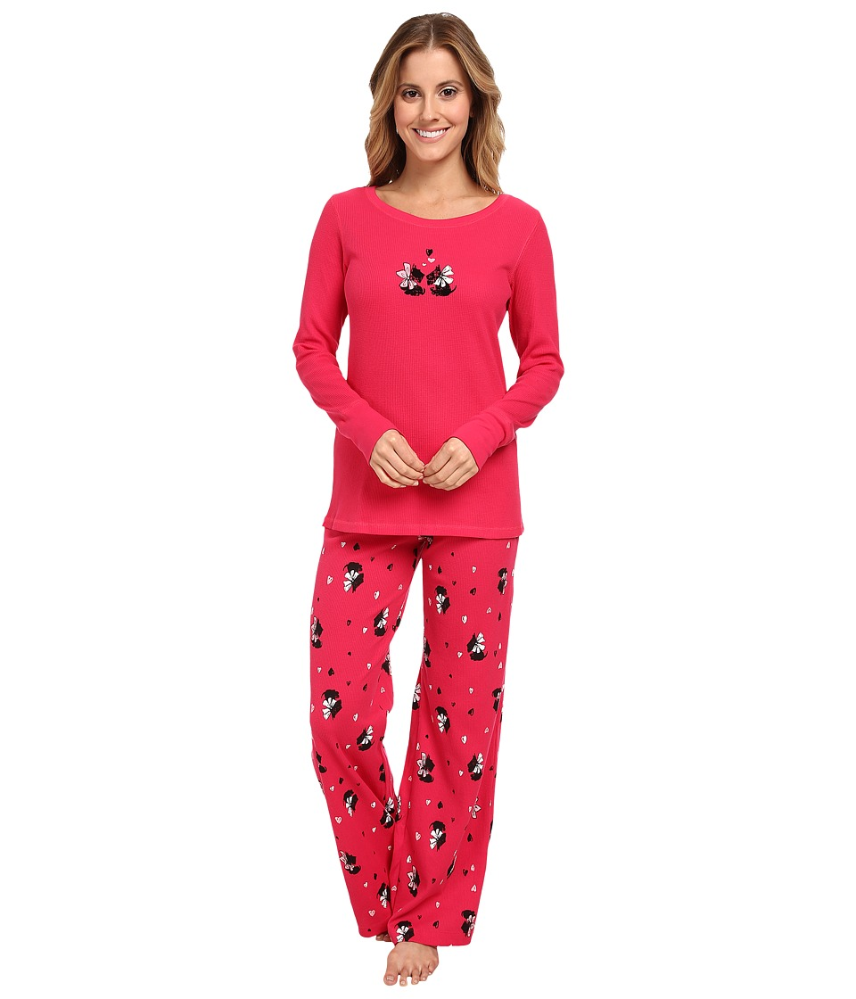 HUE - Classy Scotty Thermal Set (Virtual Pink) Women's Pajama Sets