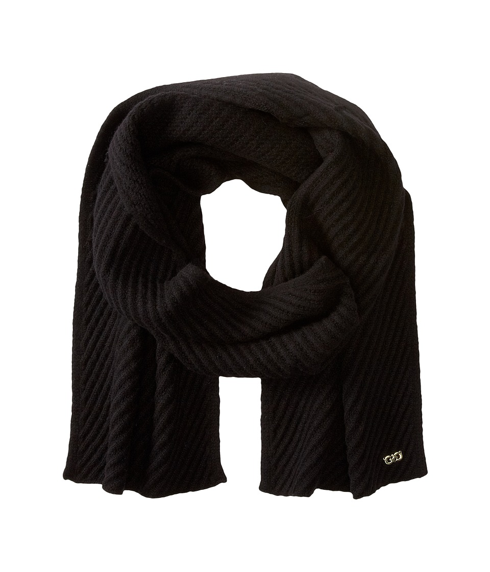 Cole Haan - Diagonal Rib Muffler (Black) Scarves