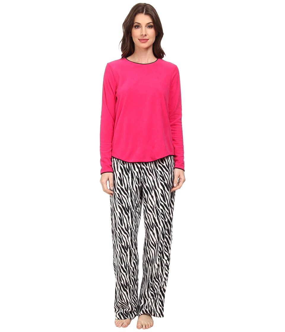 HUE - Frosty Zebra Fleece Set (Bright Rose) Women's Pajama Sets