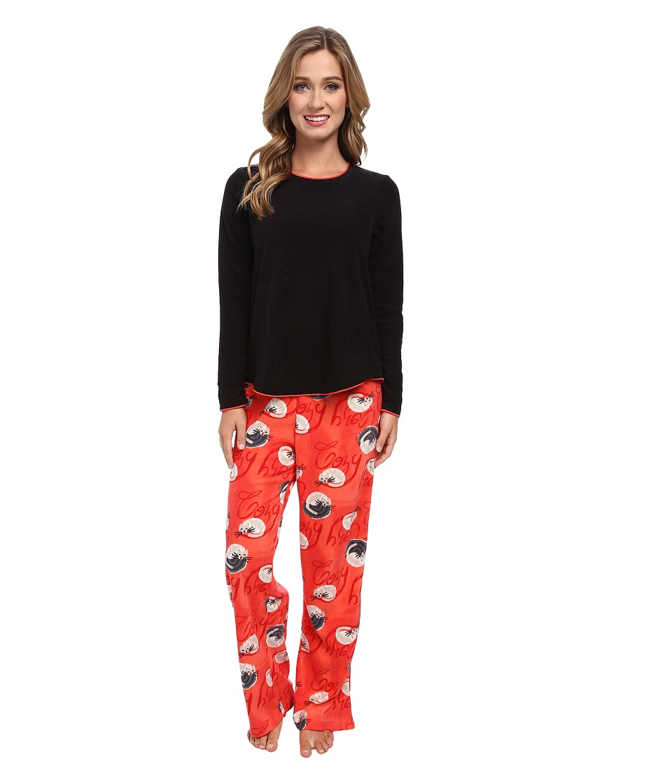 HUE - Cozy Cat Fleece Set (Black) Women's Pajama Sets