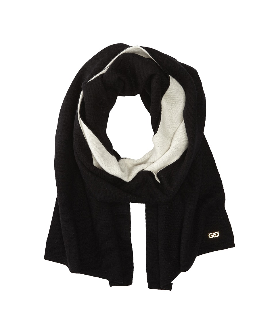 Cole Haan - Doublefaced Colorblock Muffler (Black/White) Scarves