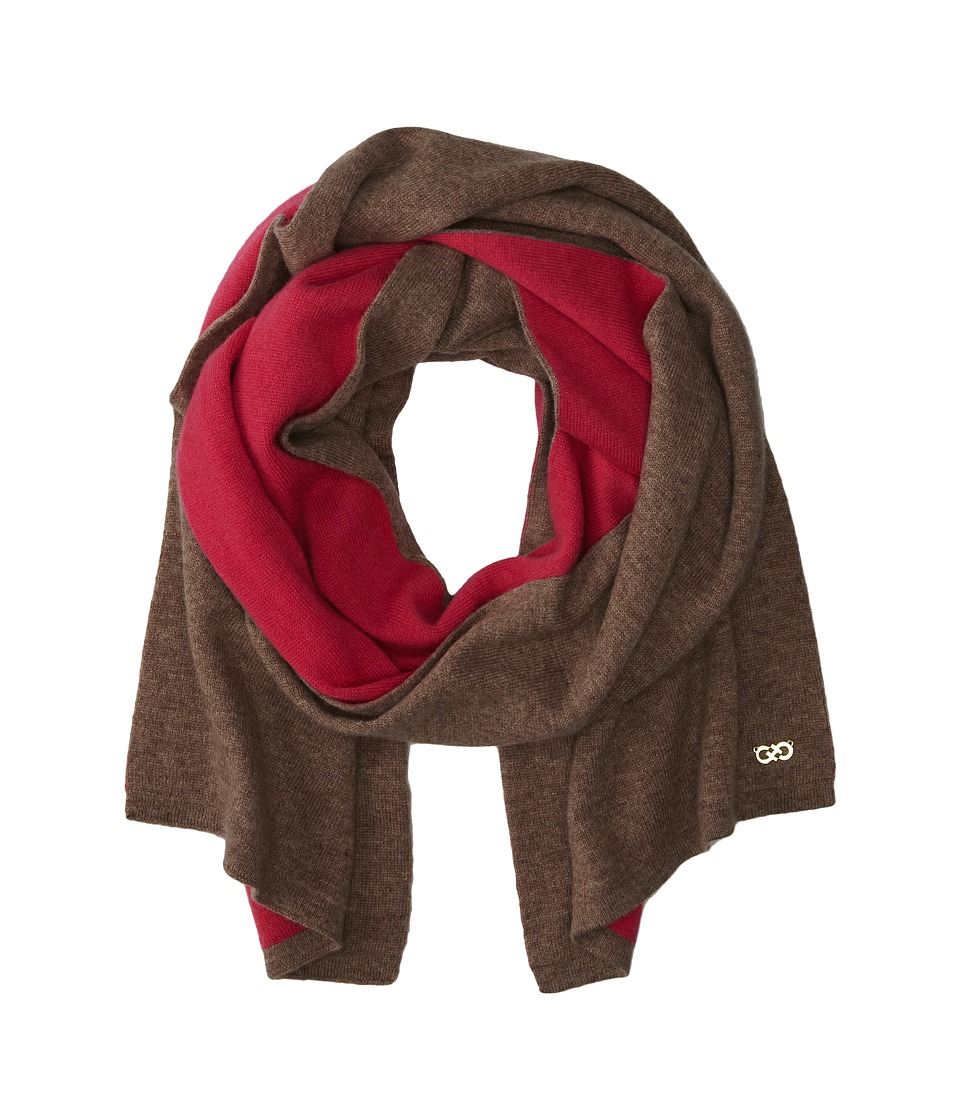 Cole Haan - Doublefaced Colorblock Muffler (Taupe/Pink) Scarves