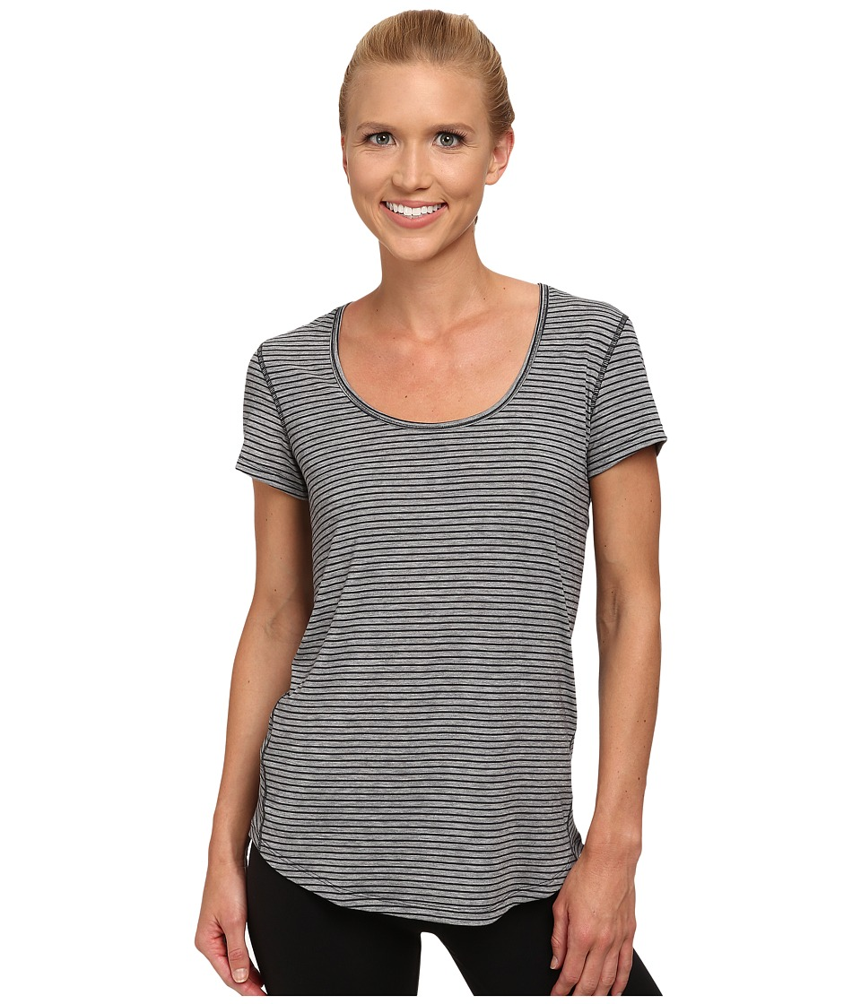 Lucy - S/S Workout Tee (Fossil/Asphalt Heather Stripe) Women's Workout