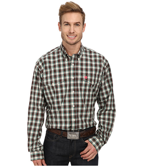 Cinch - L/S Double Pocket Plaid (Brown) Men's Long Sleeve Button Up
