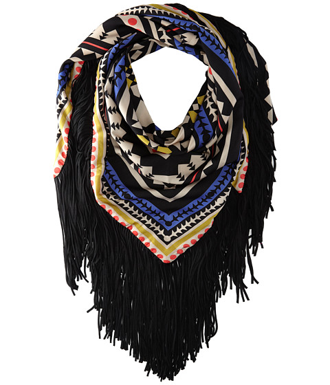 Sam Edelman - Aztec Triangle W/ Fringe (Gray) Scarves