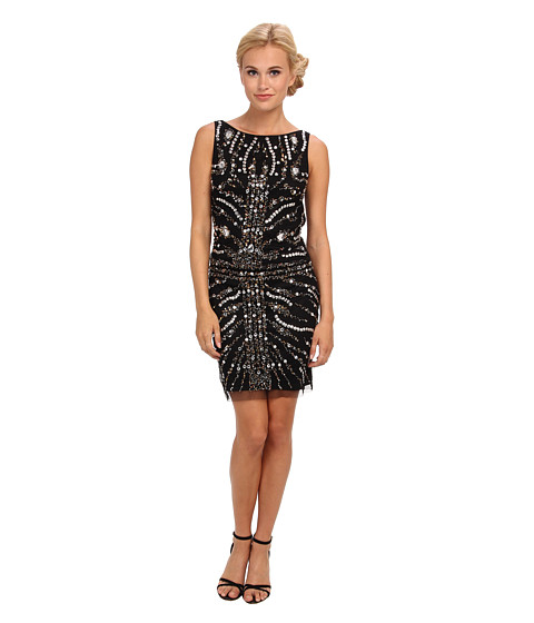 Adrianna Papell - Short Beaded Cocktail Dress (Black) Women's Dress