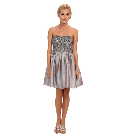 Adrianna Papell - Short Beaded Dress w/ Taffeta Skirt (Grey) Women