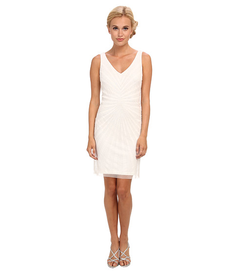 Adrianna Papell - Short Beaded V-Neck Dress (Ivory) Women's Dress