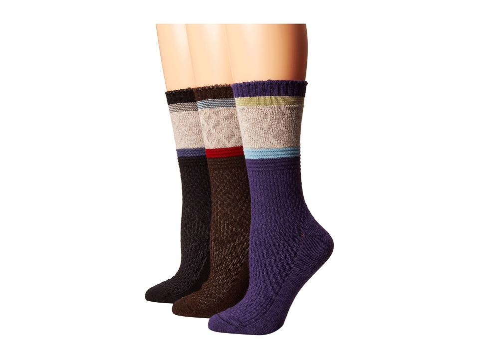 Goodhew - Poplar 3-Pack (Black/Espresso/Concorde) Women's Crew Cut Socks Shoes
