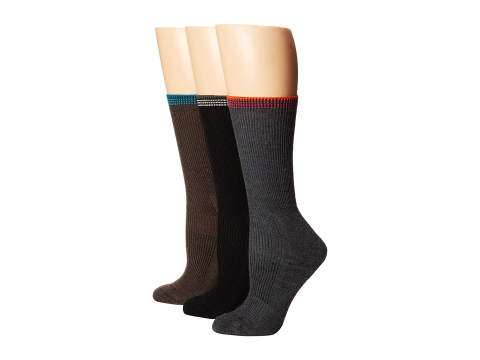 Goodhew - Tuscany 3-Pack (Black/Charcoal/Brown) Women's Crew Cut Socks Shoes