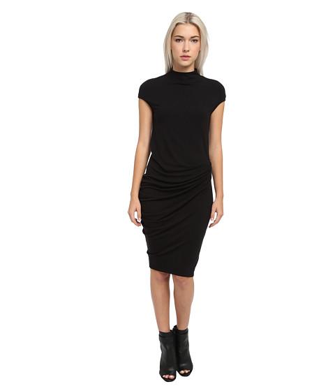 HELMUT LANG - Drape Cap Sleeve Dress (Black) Women's Dress