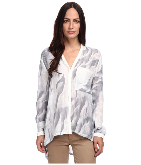 HELMUT LANG - L/S Silk Top (White Multi) Women's Blouse