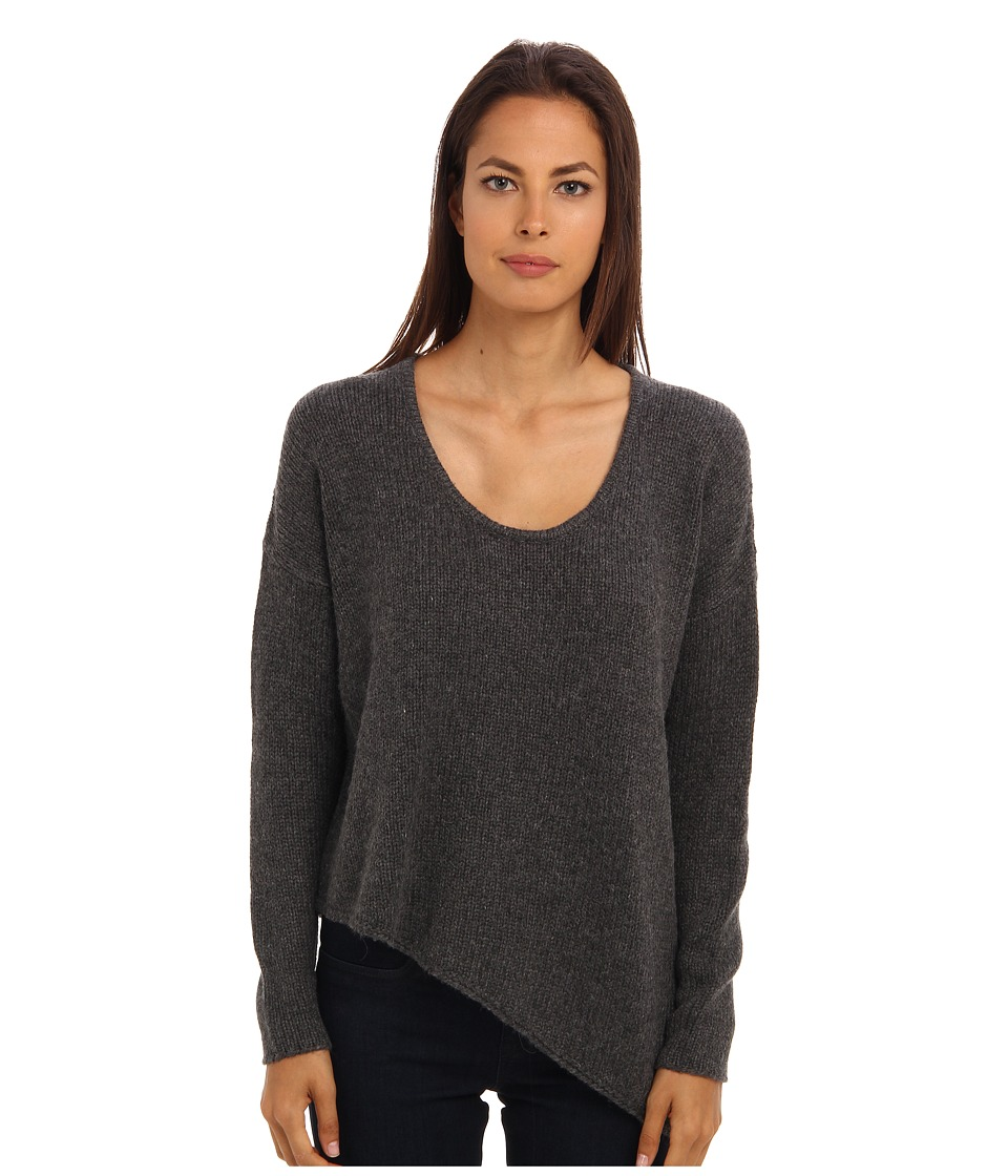 HELMUT LANG - Asymmetrical Hem Pullover Top (Dark Grey) Women