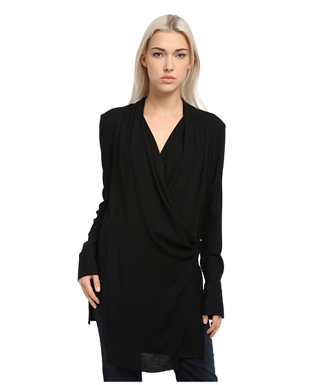 HELMUT LANG - Fold Over Draped Top (Black) Women's Clothing