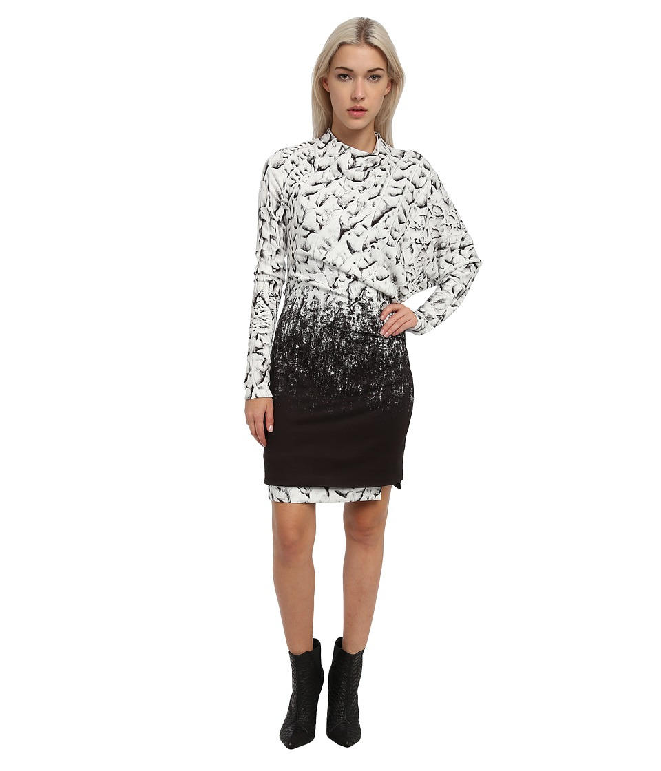 HELMUT LANG - Asymmetrical Shoulder Dolman Dress (Black Multi) Women's Dress