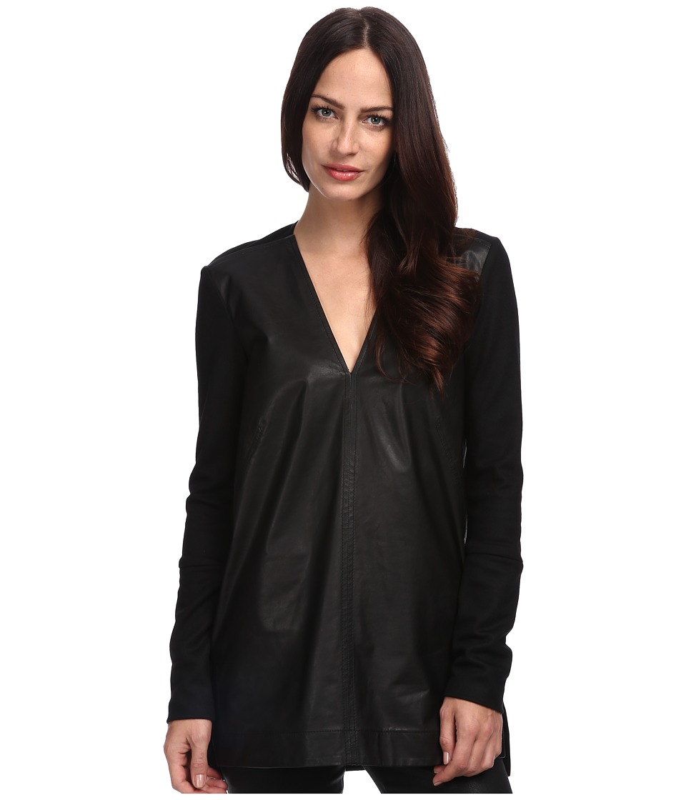 HELMUT LANG - Standard Collar Tunic (Black) Women's Long Sleeve Pullover
